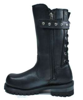 HARLEY DAVIDSON Women Billie Motorcycle Black Leather Rider Boots