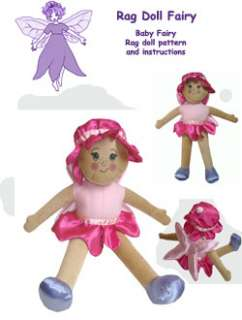 Fairy rag doll Sewing pattern with transfer face 0 3yrs