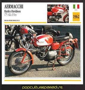 1962 AERMACCHI Harley Davidson 175 Ala dOro BIKE CARD
