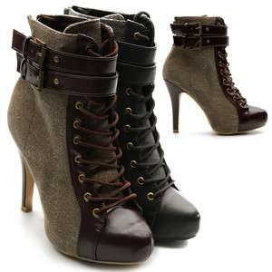 New Womens Shoes Winter Lace Ups Military Ankle Boots Buckle High