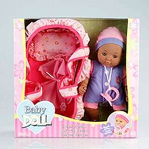 : 12 African American Baby Doll with Bassinet Carrier: Toys & Games