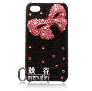 bling Swarovski crystal pink 3d bow hard case cover iphone 3g 3gs 4 4g