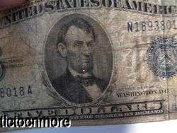 US 1934 C $5 FIVE DOLLAR BILL SILVER CERTIFICATE BLUE SEAL SMALL NOTE
