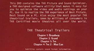 THX Picture & Sound Optimizer Theatrical Trailers PC DVD high quality