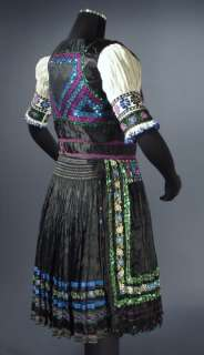 Rare SLOVAK Folk Costume embroidered apron blouse vest KROJ Dobra Niva