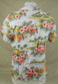 Jones New York Sport Tiki Hut Hibiscus Flower Woman Hawaiian Shirt
