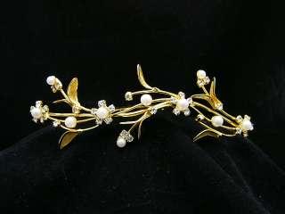 Gold Bridal Veil Wedding Crystal Pearl Tiara Comb 6261