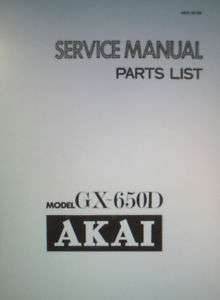 AKAI GX 650D STEREO TAPE DECK SERVICE MANUAL BOUND