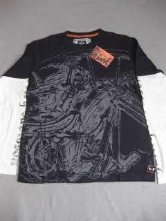 HARLEY DAVIDSON SKELETON LS BLACK Shirt Tee MOTORCYLE LONGSLEEVE 2FER