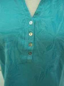 CARIBBEAN JOE LADIES WATER BLUE POLO SHIRT SIZE SMALL