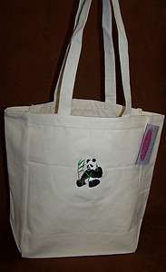 Black & White Panda Bear & Bamboo Cute Canvas Tote Bag