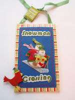 Handcrafted Debbie Mumm Snowman Crossing Wall Hanging