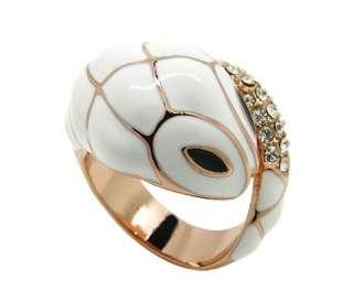 New Fashion Lovely Gold Plated Rhinestone White Enamel White Snake