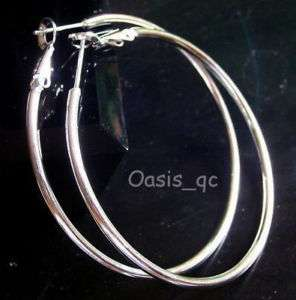 Huge White Gold Plated Clear Band 5.5cm Hoop Earring