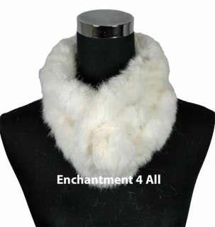 Rabbit Fur Women Self Tied Neck Collar Scarf BOA, Off White