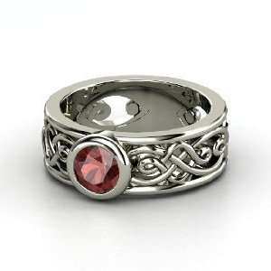 Alhambra Ring, Round Red Garnet 14K White Gold Ring
