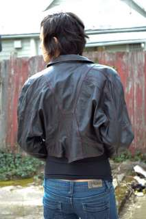 vintage 80s CROPPED black LEATHER JACKET red stitching