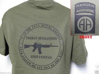 82ND AIRBORNE RANGER T SHIRT/ AFGHANISTAN T SHIRT