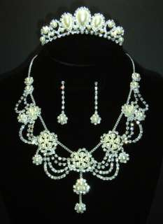 Bridal Wedding Jewelry Set Rhinestone Pearl (Necklace+Earrings+Tiara
