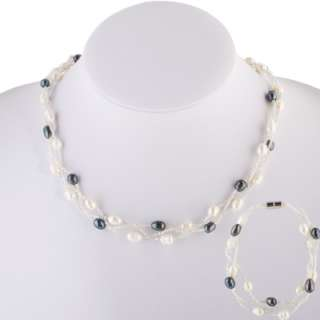 Twisted 7 8mm Potato Shaped Pearls Necklace & Bracelet
