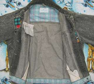 vtg Sergio Valente BLACK DENIM JACKET Ladies M Patches 90s distressed