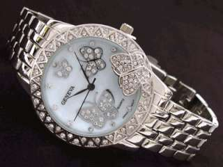 SILVER 3D Butterfly Dial Crystal Bezel Womens WATCH