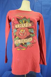 Ed Hardy True Till Death Pinkish Red Long Sleeve Tunic T shirt Small
