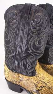 99S MENS NICE ACME CAMEL Black Snakeskin Leather Embroider COWBOY