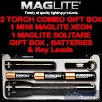 MAGLITE Combo Pack XENON Flashlight Torch GIFT BOX SOLITAIRE & MINI
