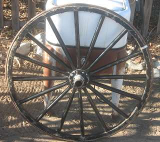 ANTIQUE 39 IN WOOD WAGON WHEEL W STEEL HUB AND TIRE AND WOOD SPOKES