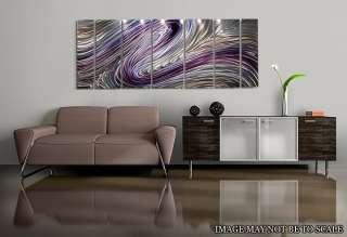 Modern Abstract Purple/Silver Painting Metal Wall Art Decor Wild