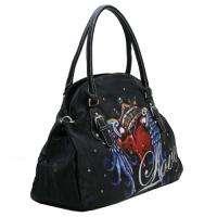 Womans Rhinestone Winged Heart & Love Tattoo Handbag