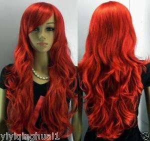 NEW long red curly hair womens full wig