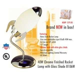 AMERICAN White Retro Rocket Lamp Home Improvement