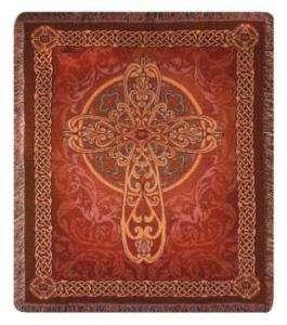 60 Medieval Celtic Cross Tapestry Afghan Blanket Throw