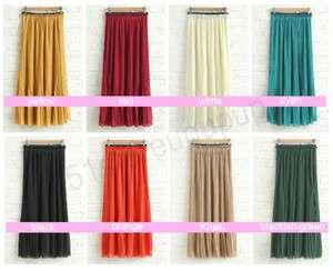 New Styles Women Chiffon Pleated Long Skirt Elastic Waistband