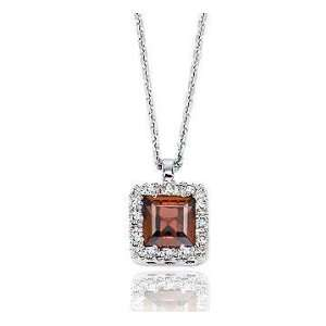14k Diamond Garnet Vintage Style Princess Pendant Necklace Jewelry