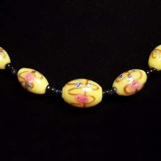 Vintage Italian Venetian WEDDING CAKE Lampwork Glass Bead Necklace