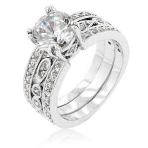 : CZ WEDDING RINGS   Three Row Antique Style CZ Wedding Set: Jewelry