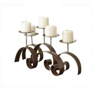 Multi Scroll Design Candleholder with Antique Gold and Copper Finish