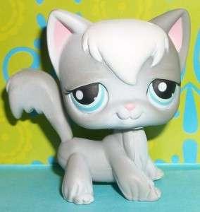 Pet Shop~#345 GRAY & WHITE LONG HAIR KITTY CAT Retired~E148 LPS