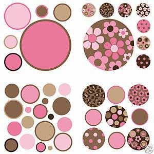 42 BiG WallPops Stickers Room Decor PINK BROWN Girls Flower Decals B16