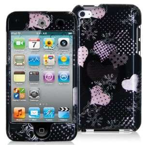 iPOD TOUCH 4 / 4G / 4TH LOVE DESERT PINK HEARTS ON BLACK