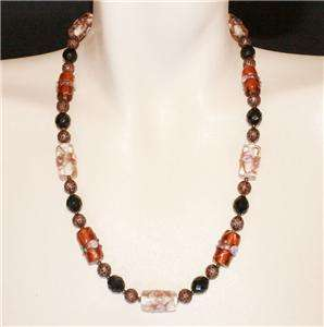 TOPAZ JET CLEAR VENETIAN WEDDING CAKE BEAD NECKLACE 21