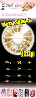 120 GOLD METAL STICKER NAIL ART CRAFT BUFFERFLY FLOWER