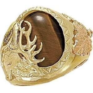 Elk in Tiger Eye Inset Landstroms Black Hills Gold Jewelry Jewelry