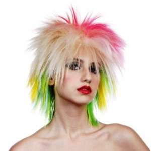 1980s Multi Colour Fancy Dress Wig Inc FREE Wig Cap Toys & Games