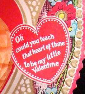 Valentines Day Card Antique Honeycomb stand up   rare to find