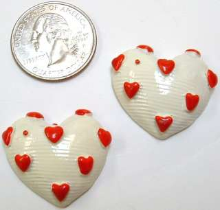 Valentines Day HEARTS red white flatbacks resins