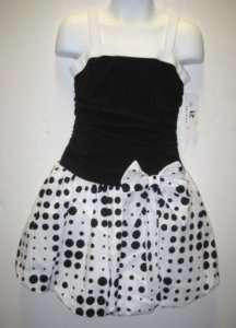 Girl AMY BYER Black White Bubble DRESS Party Dot sz 4 6